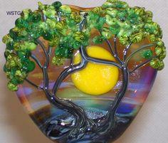 WSTGA~SHARING A SUNSET TOGETHER~TREE handmade lampwork glass bead focal SRA