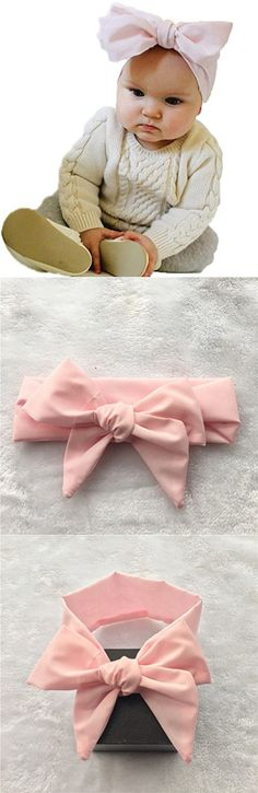 Baby Girl Elastic Headbands with Big Bow Turban Hairband Hair Accessories (Light Pink)