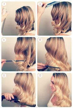 easy step by step hairstyle tutorials for long hair- Hollywood glamour