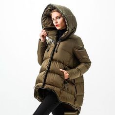 Miss FoFo Women's Down Coats C.J Jackets Gorgeous rose fashion hood print olive long down coat female plus size available Long Down Coat, Coats For Women, Clothes For Women, Medium Long, Designing Women, Luxury Fashion, Winter Jackets, Plus Size, How To Wear