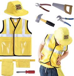 iPlay, iLearn Construction Worker Costume Role Play Kit Set, Engineering Dress Up Gift Educational Toy for Halloween Activities Holidays Christmas for 7 Year Old Kids Toddlers Boys