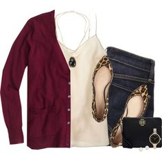 J.crew burgundy cardigan & silk cami with leopard flats by steffiestaffie on Polyvore featuring J.Crew, Marc by Marc Jacobs, Tory Burch, Kendra Scott and Blue Nile