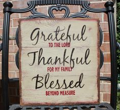 Fall Decor Wood Sign, Grateful Thankful Blessed Sign, Thanksgiving, Inspirational Religious Sign, Distressed Rustic Primitive, Shabby Chic by TinSheepShop on Etsy