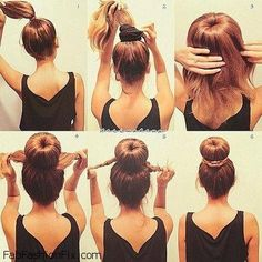 Sock Bun Tutorial: This is much easier than trying to roll the hair down with the sock ring. It is well suited for medium-length layered hair and for wet hair. However, I skip step 1 and just pull all my hair through the sock ring, then I add the hair tie Pretty Hairstyles, Easy Hairstyles, Hairstyles 2018, Hairstyle Ideas, School Hairstyles, Wedding Hairstyles, Teenage Hairstyles, Bun Hairstyles For Long Hair, Frontal Hairstyles