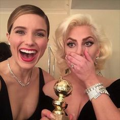 Congratulations to Lady Gaga, a winner at the #goldenglobes, posing with our co-founder Sophia Bush, who was wearing her own winning smile and winning scent. Courtesy of reactive lush lip and eau de parfum, available at ismellgreat.com