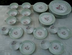 NORITAKE RC Japan 1920s MINT GREEN & ROSES 33Pc Porcelain Dinner Set VG Antique