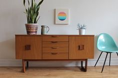 Danish Modern Trestle Leg Sideboard by Europa
