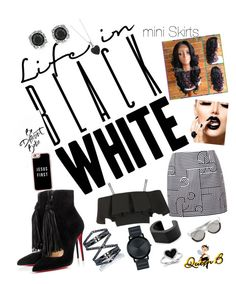 """""""A black & WHITE mini PICTURE▫◾"""" by glam-fab-bee-heelz on Polyvore featuring Victoria, Victoria Beckham, Christian Louboutin, Topshop, Casetify, Eva Fehren, Movado, BERRICLE, Mark Broumand, Linda Farrow and NOVICA"""