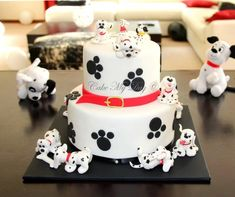 That is the cake I made for the second birthday of my friend's baby girl and I hope you can tell I really enjoyed doing it :)) So, ok, may be it is not all of the 101 dalmatians – just nine of them and two candles :) Pretty Cakes, Cute Cakes, Dog Cakes, Cupcake Cakes, Rodjendanske Torte, Puppy Cake, Animal Cakes, Character Cakes, Novelty Cakes