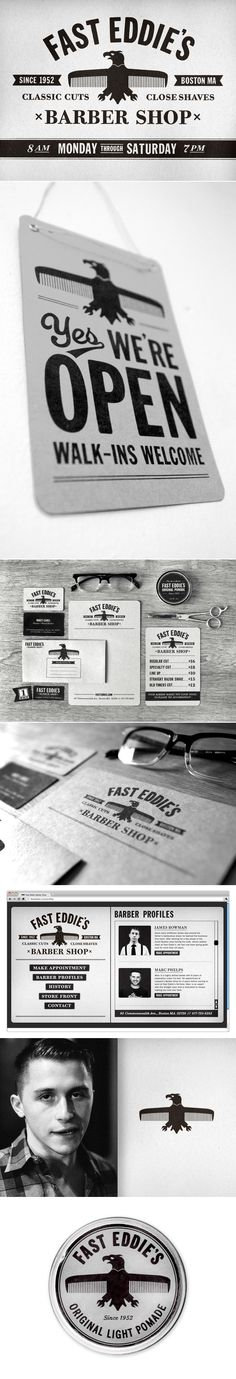 Fast Eddies Barber Shop branding- great little suite of applications for a funky identity