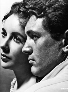 "Elizabeth Taylor and Rock Hudson, publicity still from ""Giant"" (1956) . . two of the most beautiful people ever created . . . ."