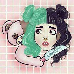 Ho my teddy bear you scare me! Melanie Martinez Style, Mel Martinez, Melanie Martinez Drawings, Crybaby Melanie Martinez, Cry Baby, My Little Pony, Poses References, Fan Art, Crazy People