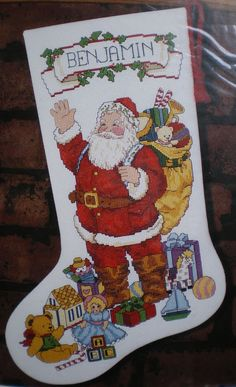 "Sunset / Carol McAulay 1992 ""Santa Greeting Stocking"" Counted Cross Stitch Kit"