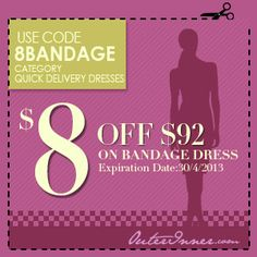 Get $8 OFF your order of bandage dresses with this coupon! Find a lovely one here: http://www.outerinner.com/search.html?k=bandage+dresses #BandageDresses #OuterInner