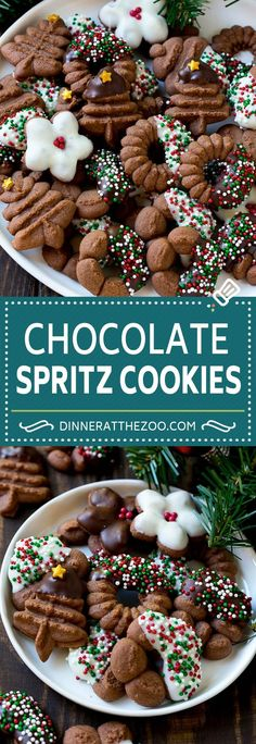 These chocolate spritz cookies are buttery cookies piped into decorative designs, then baked to perfection and topped with chocolate and sprinkles. Brownie Cookies, Chocolate Chip Cookies, Spritz Cookies, Buttery Cookies, Holiday Cookies, Chocolate Chips, Chocolate Christmas Cookies, Chocolate Sprinkles, White Chocolate