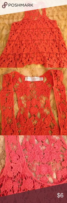 Orange crocheted tank This adorable crocheted orange tank is super cute with a bralette underneath or with a bathing suit! Crocheted, no pulls. Rarely worn! Solitaire Tops Tank Tops