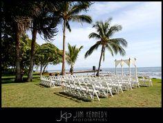 Gorgeous ceremony setup at Olowalu Plantation House | Maui, Hawaii | Jim Kennedy Photographers