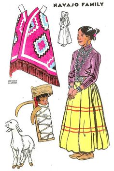 ca. 1946, July - Jack and Jill Magazine - Navajo Family   #NativeAmerican * 1500 free paper dolls at international artist Arielle Gabriels The International Paper Doll Society also free Chinese paper dolls The China Adventures of Arielle Gabriel *