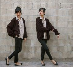 brown grandpa sweater - {BUT GRAY and MORE COLLAR FOLDING ACTION}