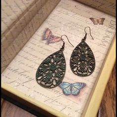 Earrings Antiqued teardrop filigree earrings. About an inch and a half long. Nameless Creations Jewelry Earrings