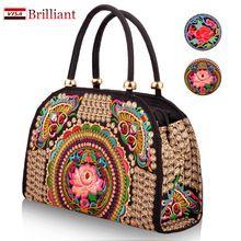 Pure Handmade flor bordados étnicos sacos de mulheres bolsa cross - corpo saco em sacos de ombro senhora do(China (Mainland))