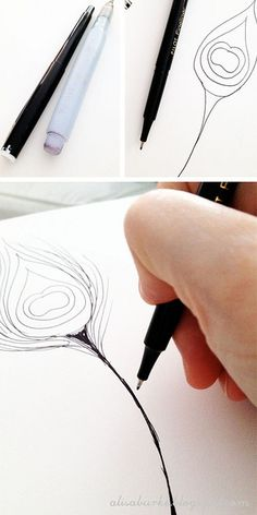 Pen & Waterbrush: start with a line drawing. Although it looks more like a felt tip marker. Drawing Lessons, Drawing Techniques, Art Lessons, Watercolour Tutorials, Art Graphique, Crayon, Art Plastique, Art Tips, Watercolor And Ink