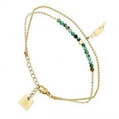 Bracelet plume et pierres Zag bijoux (doré jaune) , Bijoux Fantaisie  Créateurs
