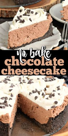 Rich and creamy, this No Bake Chocolate Cheesecake is the perfect weeknight dessert or holiday treat! Simple and delicious. bites easy bites keto bites mini bites no bake bites no bake easy bites recipes No Bake Chocolate Cheesecake, Baked Cheesecake Recipe, Cheesecake Desserts, No Bake Desserts, Easy Desserts, Dessert Recipes, Cheesecake Bites, Health Desserts, Easy No Bake Cheesecake