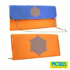 Psychedelic Flower clutch: Blue & Orange. For details and orders please email us at picselsce@gmail.com