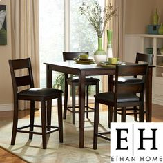 @Overstock - Update the look of your dining room with this five-piece counter-height dining set from Ethan. The set includes a table and four chairs with a brown-black finish and bi-cast vinyl upholstery that gives the pieces a sophisticated look.http://www.overstock.com/Home-Garden/Ethan-Five-piece-Counter-Height-Set/6739963/product.html?CID=214117 $502.19