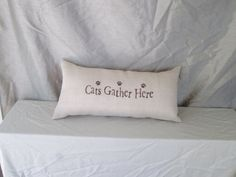 Hand Stenciled Pillow Cats Gather Here Cat Lovers by RitasGarden, $25.50