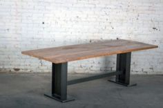 Steel I-Beam Table w/Reclaimed Wood Top 96x39x30H | dearsparrow.com Steel Table, Wood Table, Vintage Industrial Furniture, Conference Table, Loft Style, Dining Bench, Kitchen Tables, Kitchen Designs, Patio Ideas