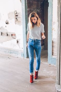 Chic street look with striped outfits