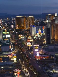 Photographic Print: Neon Lights of the The Strip at Night, Las Vegas, Nevada, United States of America, North America by Kober Christian : 24x18in