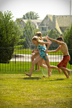 Who doesn't remember running through the sprinklers to cool off on those hot days? And that shiver as the first spray of cold water hit you??