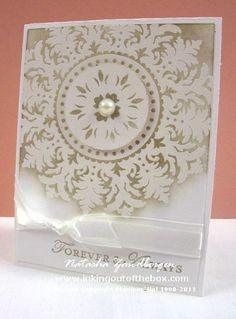 Wedding or anniversary card using SU medallion stamp, very elegant Scrapbooking, Scrapbook Cards, Wedding Anniversary Cards, Wedding Cards, Paper Cards, Diy Cards, Engagement Cards, Wedding Card Templates, Beautiful Handmade Cards