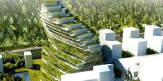 Architecture firm design for a residential school in Stockholm includes hanging gardens, green terraces and vertical farming on the exterior. Residential Building Design, Residential Schools, Sedum Roof, New Housing Developments, Green Terrace, Nachhaltiges Design, Environmental Studies, Green School, Vertical Farming