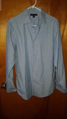 Banana Republic Fitted Light Blue Lime Green Striped Cuffed Dress Shirt M 15.5 #BananaRepublic #daystarfashions $17