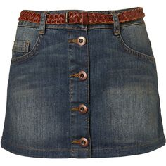 MOTO Dirty Denim A-Line Skirt ❤ liked on Polyvore