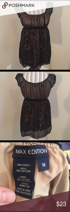 Max Edition shirt Black lace over a nude under layer. Great condition. Max Edition Tops