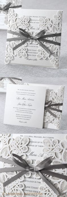Elegant Laser Cut Wrap by B Wedding Invitations #bweddinginvitations #wedding…