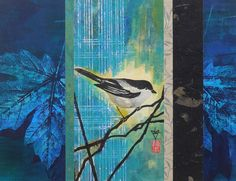 Japanese Bird Ink Abstract Acrylic Nature Painting, Mixed-Media Contemporary 11x14  Paper Tapestry Collage Art by artist Lynn Gobble by LynnGobbleDesigns on Etsy