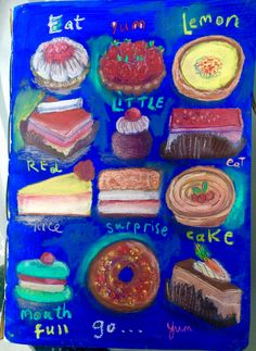 Cakes created with matte acrylics and oil pastels Oil Pastels, Acrylics, Mixed Media, Lemon, Birthday Cake, Collage, Cakes, Create, Desserts