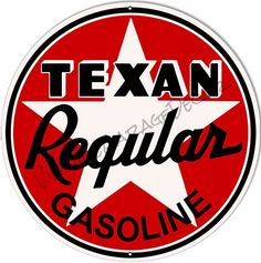 Create a Unique Vintage Garage Look with our Products. This is a reproduction of a vintage Texan Regular Gasoline Advertising Metal Sign. Vintage Metal Signs, Unique Vintage, Vintage Style, Vintage Fashion, Vintage Gas Pumps, Old Gas Stations, Poster Ads, Old Signs, Oil And Gas
