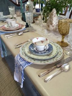 North Country Vintage mismatched china, glassware, flatware and napkins