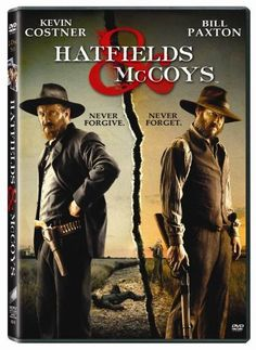 """The Hatfield-McCoy saga centers on """"Devil"""" Anse Hatfield and Randall McCoy. Close friends and comrades during the Civil War, they returned to their neighboring homes - Hatfield in West Virginia, McCoy. I watch this all the time. I've watched it so much that I need a new one haha. Great DVD! I've learned a lot. Kevin Costner, Hatfields And Mccoys Movie, Matt Barr, Powers Boothe, Virginia Occidental, Kentucky, Kevin Reynolds, Tom Berenger, Drama"""