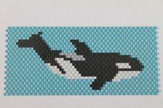 Handmade Orca Whale Delica Seed Bead Keychain by SeedBeadingByRGR