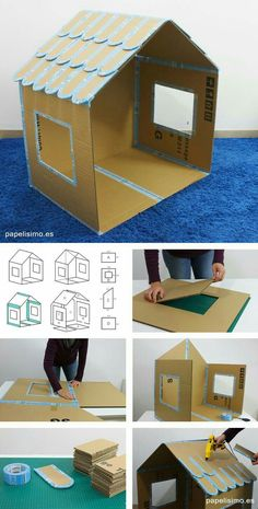 30 erstaunliche Karton DIY Möbel Ideen - - Best Picture For 5 minute crafts For Your Taste You are looking for something, and it is going to - Cardboard Box Houses, Cardboard Box Crafts, Cardboard Playhouse, Diy Playhouse, Cardboard Toys, Cardboard Box Ideas For Kids, Cardboard Gingerbread House, Cardboard Dollhouse, Kids Crafts