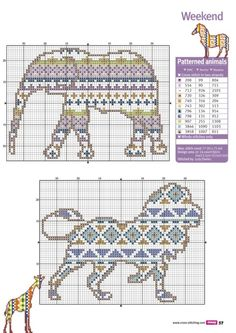 Cross-stitch Colorful Safari Animals, part 2..  with the color chart...   Gallery.ru / Фото #51 - Cross Stitch Crazy 190 - WhiteAngel