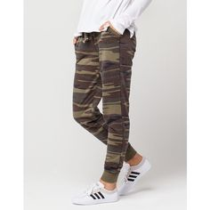 Others Follow Camo Womens Jogger Pants ($35) ❤ liked on Polyvore featuring pants, jogger trousers, cotton pants, camouflage pants, camoflauge pants and camouflage jogging pants